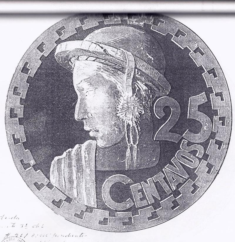 Diseño que tuvo la moneda de 25 centavos realizado por Antonio Tejeda Fonseca.
