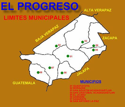 Departamento de El Progreso y sus Municipios