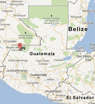 Mapa de los cenotes de Candelaria