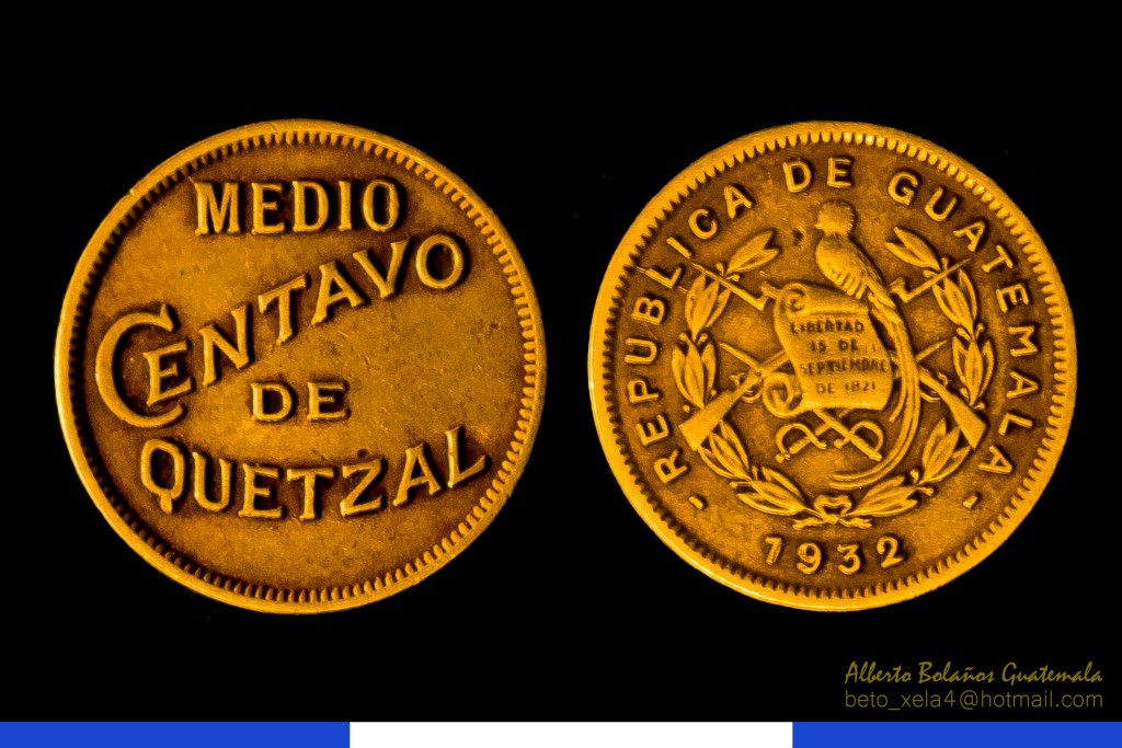 Moneda - Medio centavo de Quetzal, 1932 - foto por Beto Bolaños