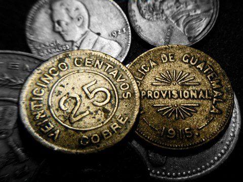 Moneda de cobre de 25 centavos 1915 Joel S Yok - El Origen de la Moneda en Guatemala