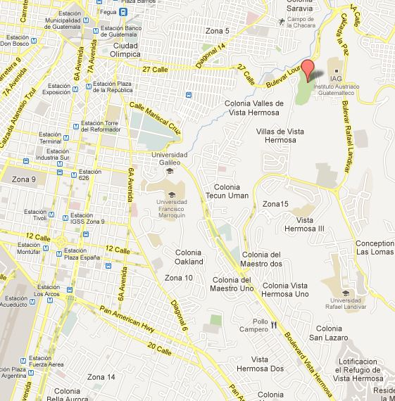 Ubicación de Ciudad Cayala en la ciudad de Guatemala (mapa Google)