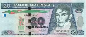 El billete de Q20 tiene el retrato del prócer de la independencia, Mariano Galvez, en el anverso, y en el reverso la imagen de la firma del Acta donde así consta.