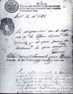 Facsímil del Acta de Independencia de Centro América. Archivo Nacional de Costa Rica. Colección: Provincial.