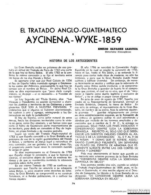 el tratado anglo guatemalteco aycinena wyke 1859 - Tratado Wyke-Aycinena firmado entre Guatemala e Inglaterra